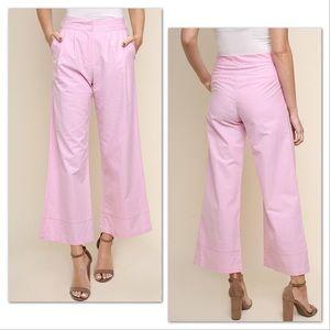 Pants - Pink High Waist Wide Leg Trouser Pants